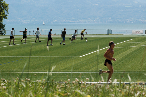 Sport with lake view